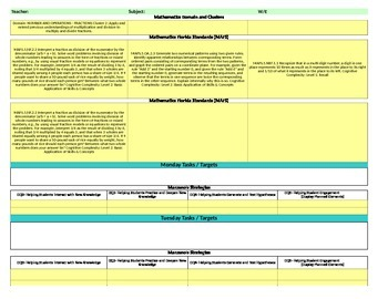 Florida Standards /Marzano Interactive Lesson Plan Templat