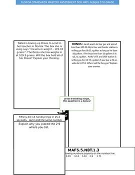 Florida Standards Math Assessment 5th grade NBT 3