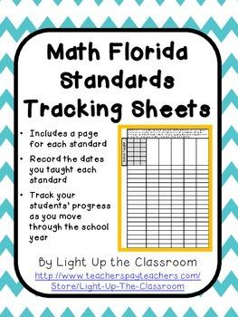Florida Standards Math Tracking Sheets (2nd Grade)- Marzan