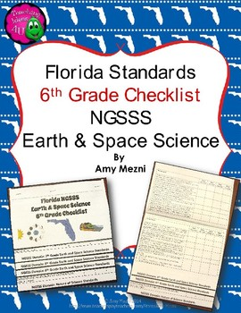 Florida Standards NGSSS Earth Space Science 6th Gr Checklist Layered Flap Book