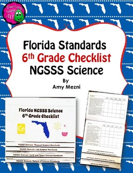 Florida Standards NGSSS Science 6th Grade Checklist Layered Flap Book