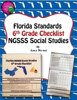 Florida Standards NGSSS Social Studies 6th Grade Checklist