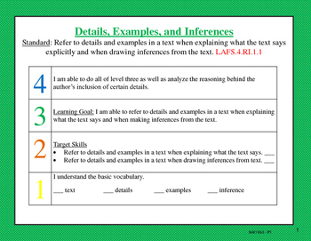 Florida Standards Reading Informational Text Classroom Scales