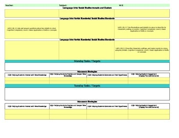 Florida Standards/Marzano Interactive Lesson Plan Template- 1st  Grade LAFS w/SS