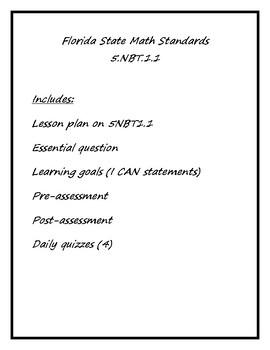 PDF Florida State 5NBT1.1 Lesson Package (5th Grade Math)