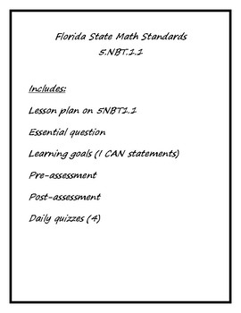 PDF Florida State 5NBT1.1 Lesson Package (5th Grade Math)