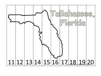 Florida State Capitol Number Sequence Puzzle 11-20.  Geography and Numbers.