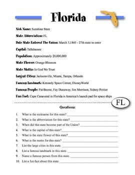 Florida State Information & Worksheet
