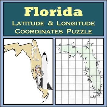 Florida State Latitude and Longitude Coordinates Puzzle - 55 Points to Plot