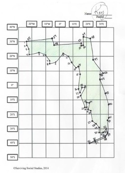 Florida State Latitude and Longitude Coordinates Puzzle - 55 Points to Plot