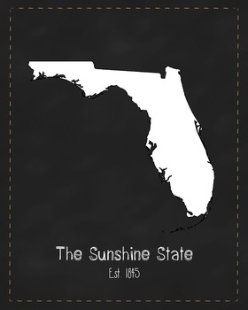 Florida State Map Class Decor, Government, Geography, Black and White Design