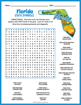 Florida State Symbols Word Search Puzzle