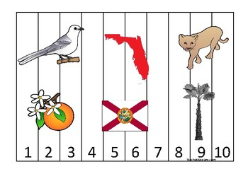 Florida State Symbols themed 1-10 Number Sequence Puzzle Game. Preschool