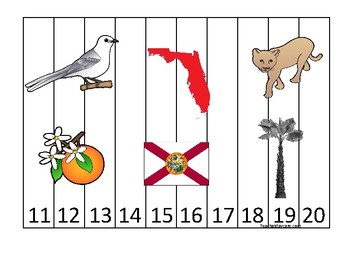 Florida State Symbols themed 11-20 Number Sequence Puzzle Game. Preschool