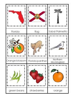 Florida State Symbols themed 3 Part Matching Game.  Printable Preschool Game