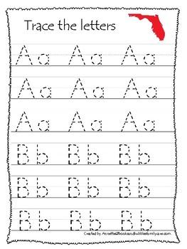 Florida State Symbols themed A-Z Tracing Worksheets. Preschool Handwriting