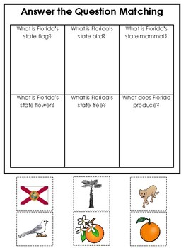 Florida State Symbols themed Answer the Question Game. Preschool Game