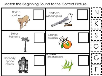 Florida State Symbols themed Match the Beginning Sound Game. Preschool Game