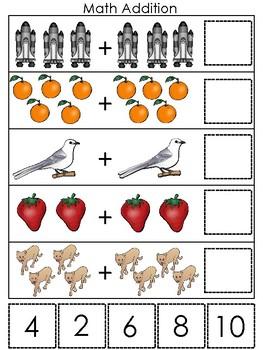 Florida State Symbols themed Math Addition Game. Preschool Game