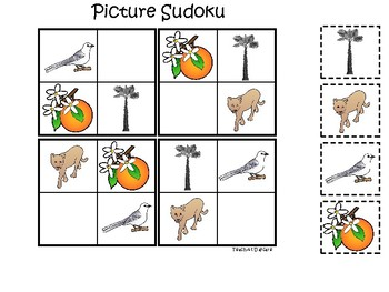 Florida State Symbols themed Picture Sudoku Game. Preschool Game
