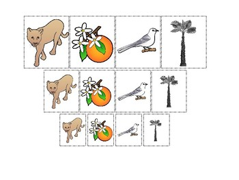 Florida State Symbols themed Size Sorting. Printable Preschool Game.