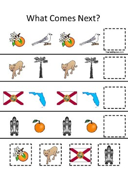 Florida State Symbols themed What Comes Next. Printable Preschool Game