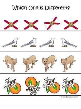 Florida State Symbols themed Which One is Different. Preschool Game
