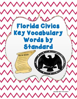 Florida State Test Civics EOC Vocabulary Words by Standard