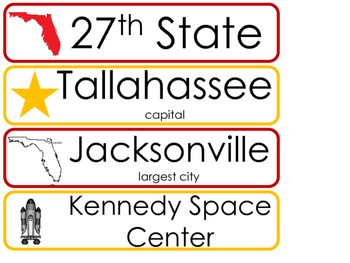 Florida State Word Wall Bulletin Board Set. Geography Curriculum.