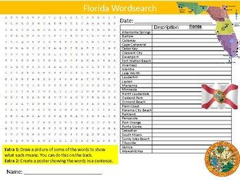 Florida State Wordsearch Sheet Starter Activity Keywords American Geography