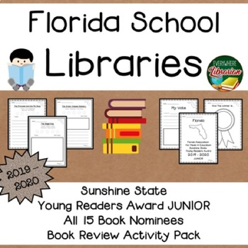 Florida Sunshine State JUNIOR Book Award 2019 - 2020  Book Review Activity Pack