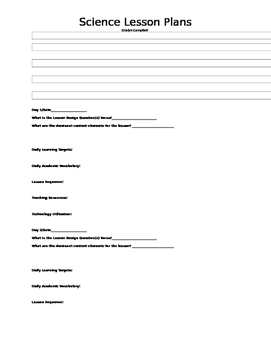Florida Third Grade Science Lesson Plan Template