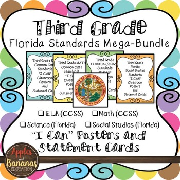 "Florida Third Grade Standards - All Subjects ""I Can"" Poste"