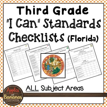 """Florida - Third Grade Standards Checklists for All Subjects  - """"I Can"""""""