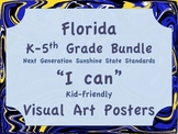 Florida Visual Arts Elementary Art Bundle K-5 NGSSS Standards Posters