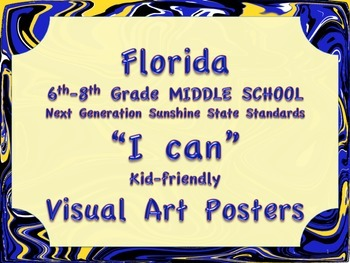 Florida Visual Arts Middle School MS 6-8  Grade NGSSS Standards Posters
