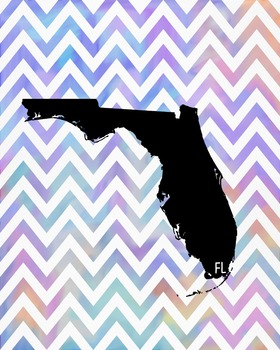 Florida Chevron State Map Class Decor, Government, Geography