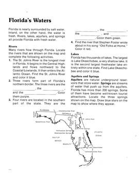 Florida's Waters Worksheet