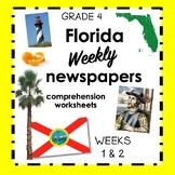 Florida weekly Social Studies newspaper worksheets - WEEKS 1 and 2 FREE