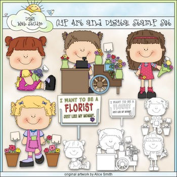 Florist Like Mommy 1 - Commercial Use Clip Art & Black & W