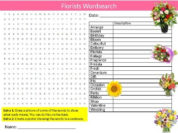 Florists Wordsearch Sheet Starter Activity Keywords Career Flowers