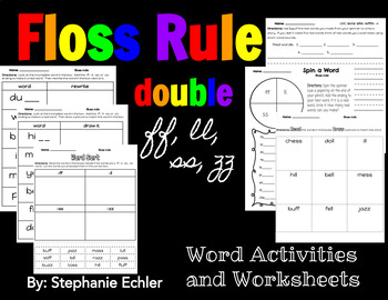 Floss Rule Word Activities and Worksheets