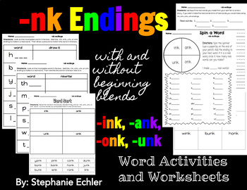 -nk Ending Word Activities and Worksheets