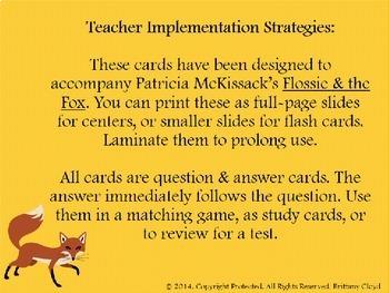 Flossie & the Fox McKissack Flash Task Literacy Cards