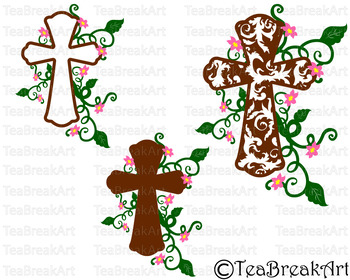 Flourish Christian Cross Digital Cutting Files SVG Png Eps