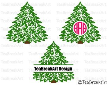 Flourish Christmas Tree Pattern Zentangle Monogram Digital Cutting File 697C
