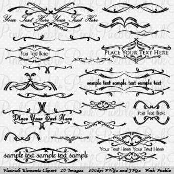 Flourish Elements Clip Art - Commercial and Personal Use