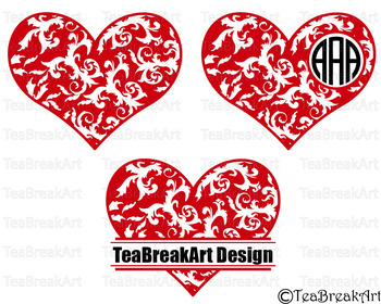 Flourish Heart Digital Cutting File PNG EPS svg dxf Clipart Digital Sticker 695C