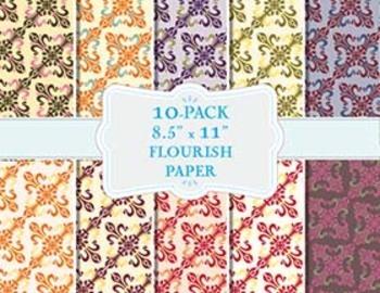 "Flourish Ornament Pattern in Fall Colors, 10-Pack (8.5"" x 11"")"