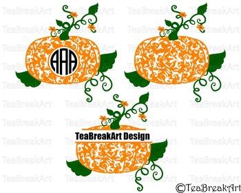 Flourish Pumpkin Digital Cutting File PNG EPS svg Clipart